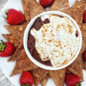 Mexican Spiced Chocolate Marshmallow Dip with Cinnamon/Sugar Tortilla Chips