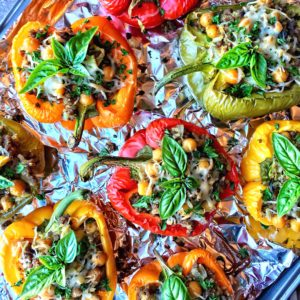 Mediterranean Chickpea Artichoke Stuffed Bell Peppers