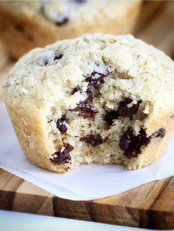 Gluten Free Dark Chocolate Chip Oat Bakery Style Muffins