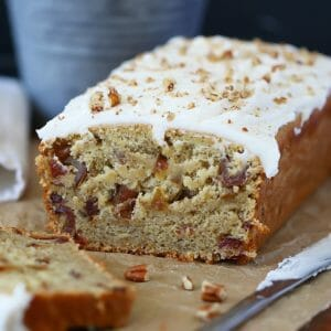 banana date bread sliced