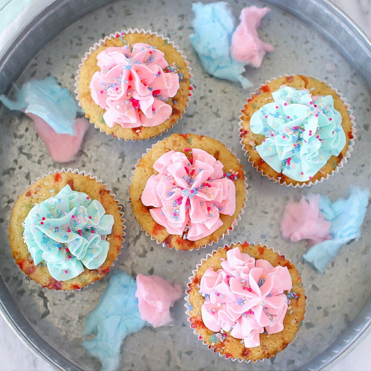 Dairy free Cotton Candy Cupcakes