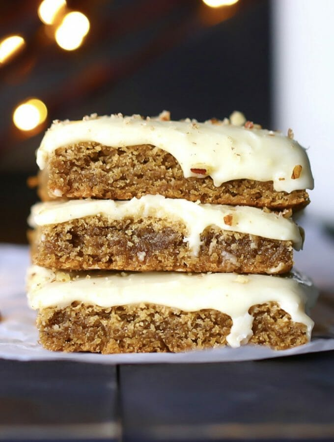 Gluten Free Cinnamon Spice Bars With Sweet Ginger Icing