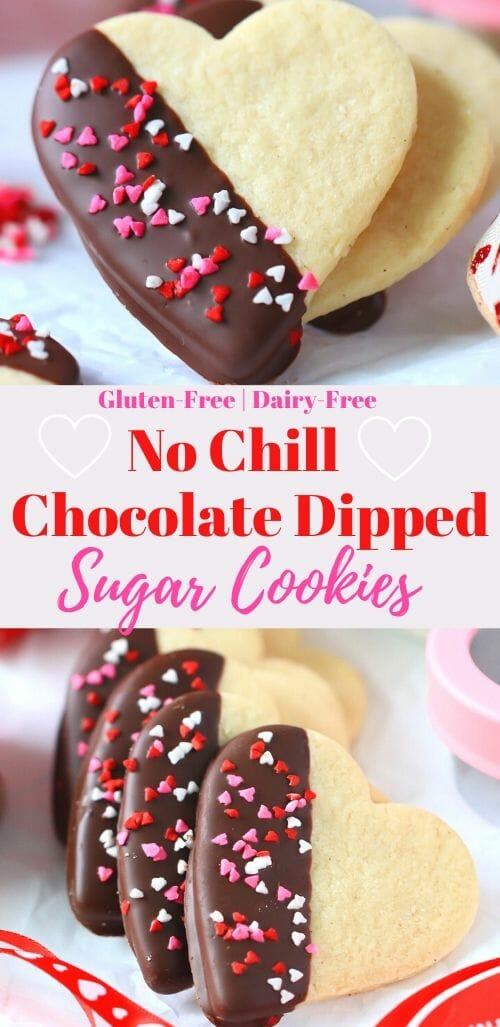 Chocolate Dipped Heart Sugar Cookies