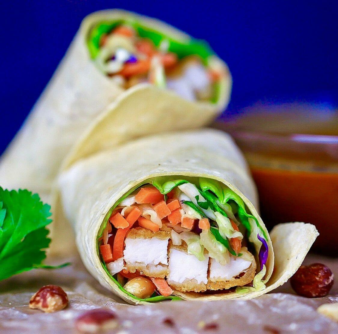 Crispy Chicken Wrap With Thai Peanut Sauce
