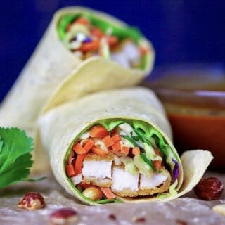 Crispy Chicken Wrap With Thai Peanut Sauce