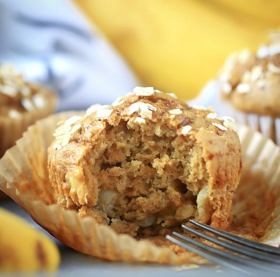 Fluffy Tender and Moist Banana Oat Muffins Recipe