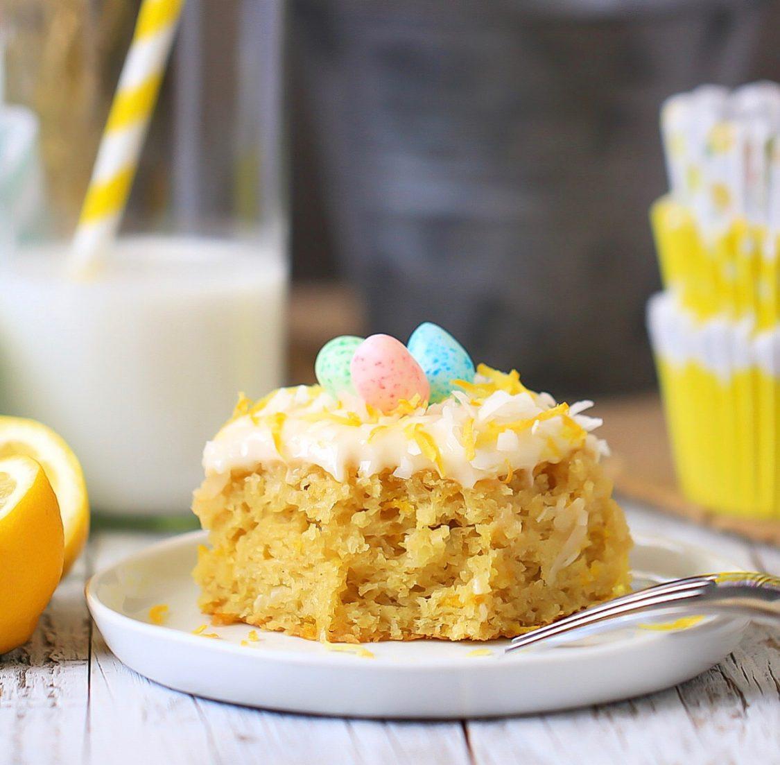 a slice of gluten free lemon sweet coconut cake