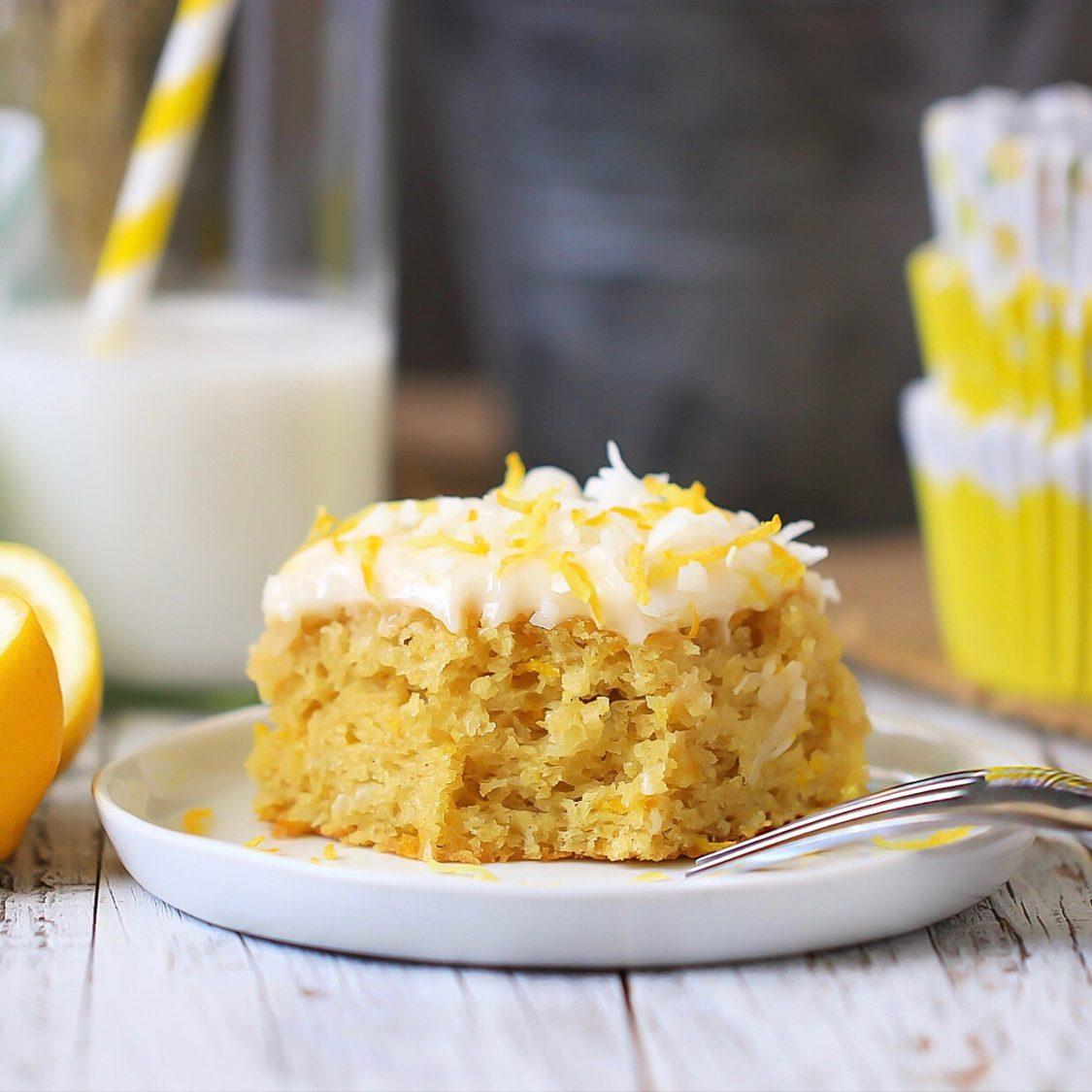 Lemon Coconut Sheet Cake with dairy free option