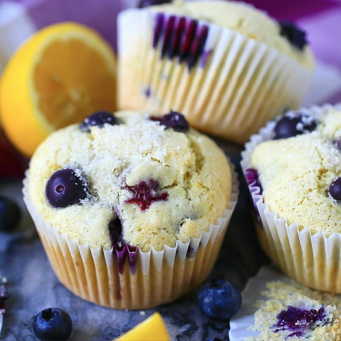 a dozen blueberry muffins