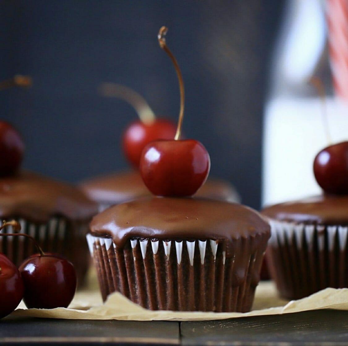 chocolate paleo cupcakes with cherries