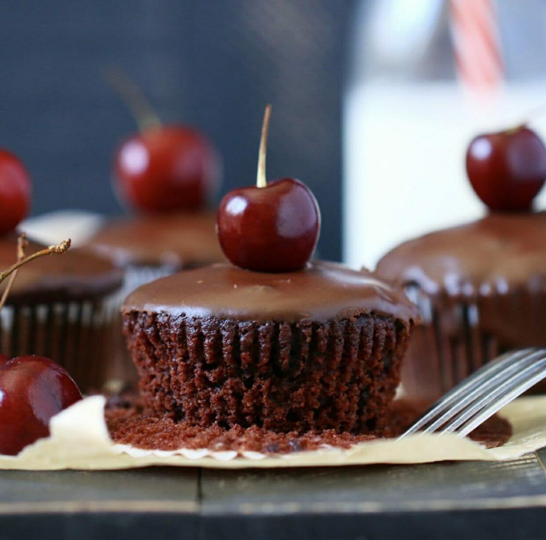 chocolate cherry paleo cupcakes