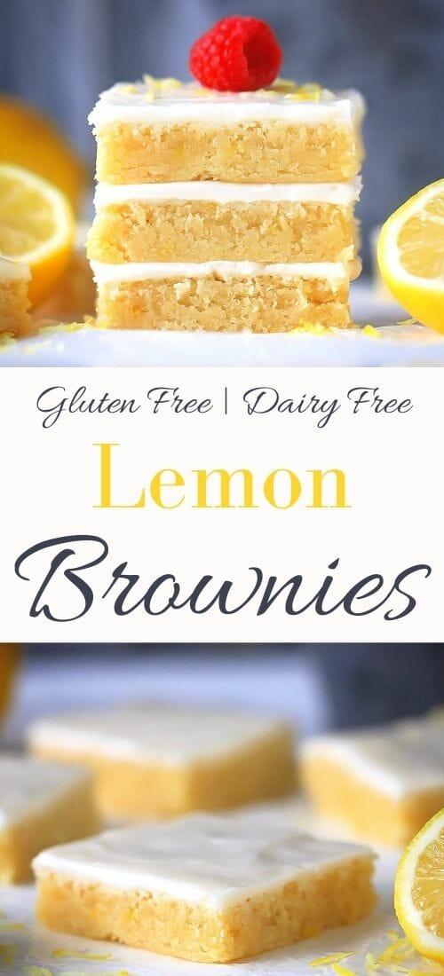 Lemony Brownies with glaze
