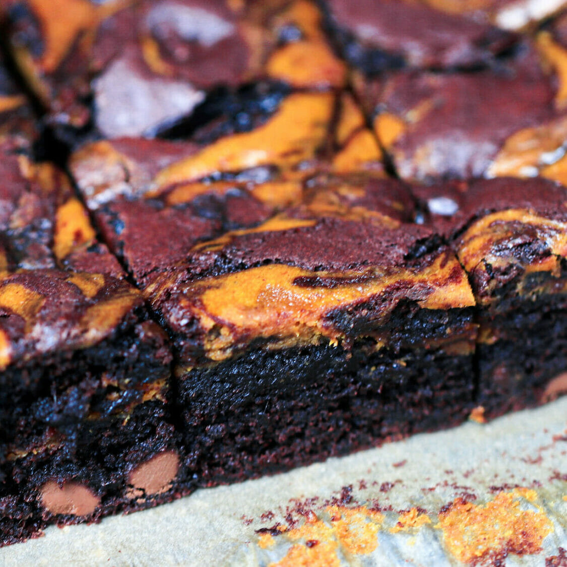 Easy made from scratch pumpkin brownies