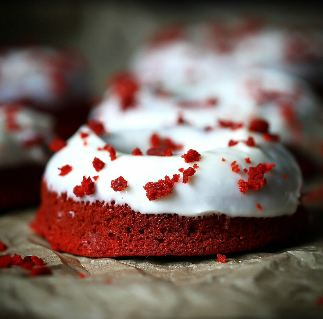 gluten free red velvet donuts with cream cheese frosting